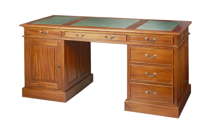English desk inlaid with leather
